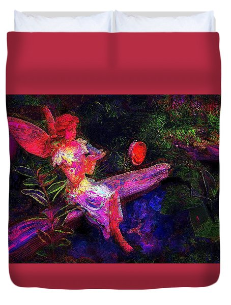 Duvet Cover featuring the photograph Luminescent Night Fairy by Lori Seaman