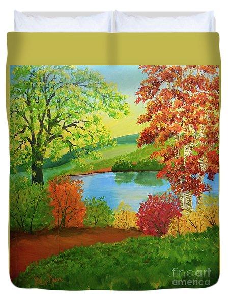 Luminous Colors Of Fall Duvet Cover