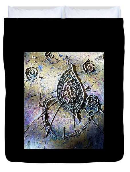 Duvet Cover featuring the painting Luminous  by 'REA' Gallery