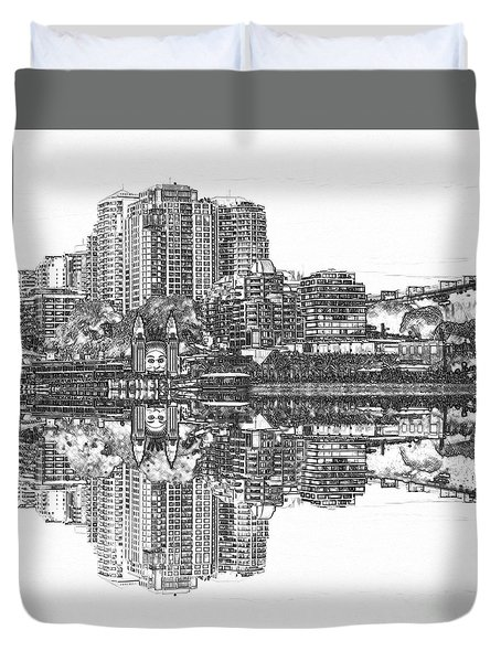Duvet Cover featuring the photograph Luna Park Pencil Ink By Kaye Menner by Kaye Menner