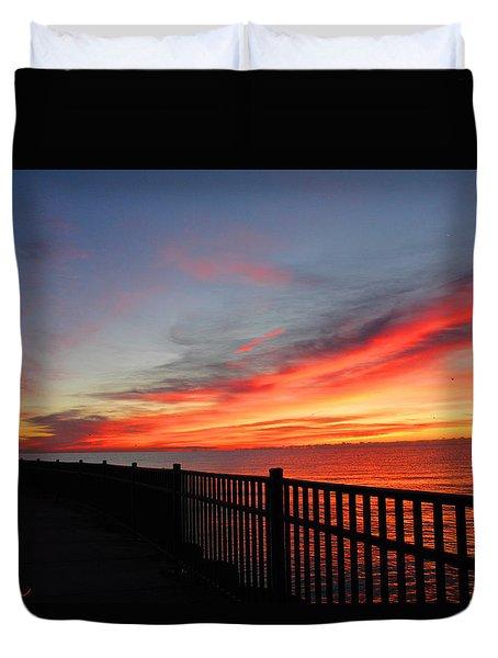 Duvet Cover featuring the photograph Luna Pier by Michael Rucker