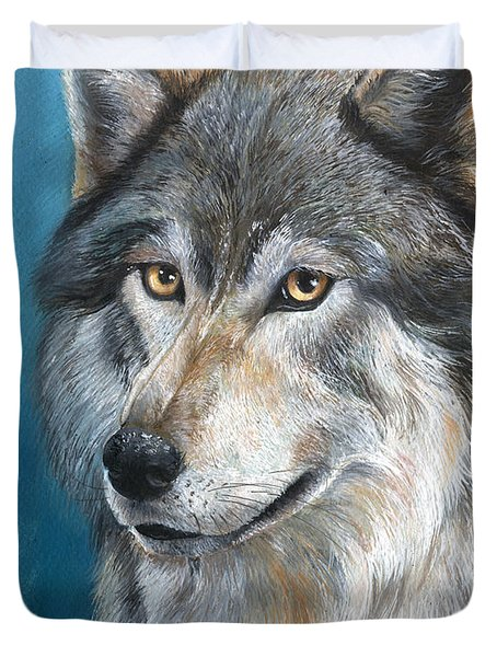 Duvet Cover featuring the painting Luna by Sherry Shipley