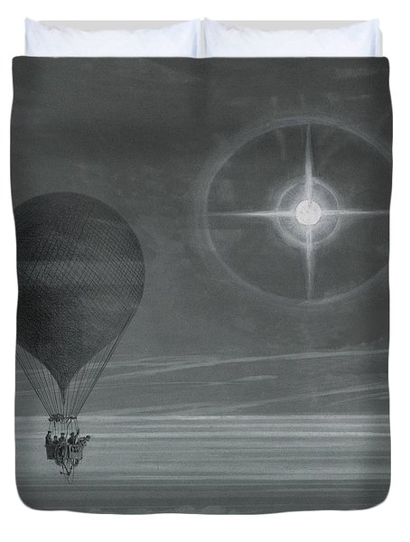 Lunar Halo And Luminescent Cross Observed During The Balloon Zenith's Long Distance Flight Duvet Cover