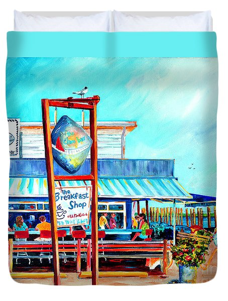 Lunch At The Clam Bar Duvet Cover