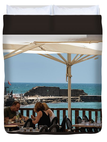 Duvet Cover featuring the photograph Lunch At The Mediterranean by Mae Wertz