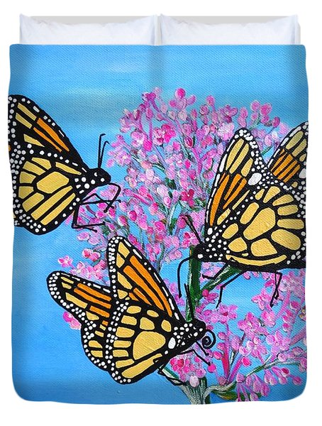 Butterfly Feeding Frenzy Duvet Cover
