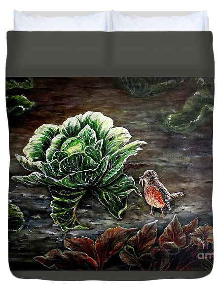 Duvet Cover featuring the painting Lunch In The Garden by Judy Kirouac