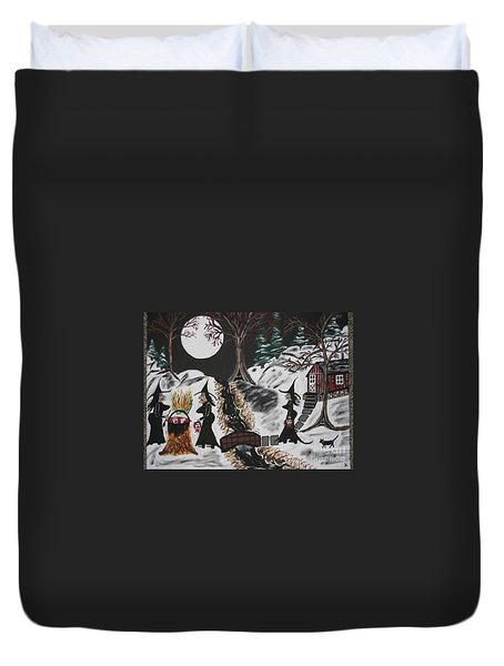 Duvet Cover featuring the painting Lunch by Jeffrey Koss