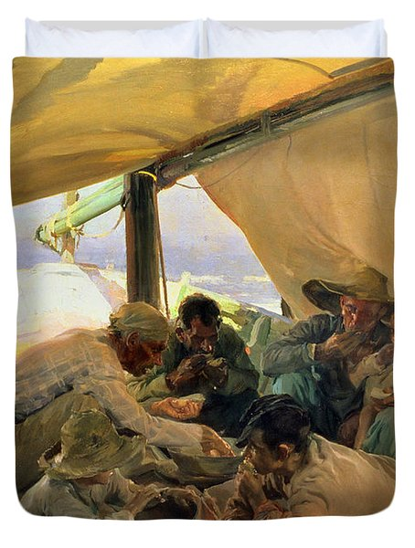 Lunch On The Boat Duvet Cover by Joaquin Sorolla y Bastida