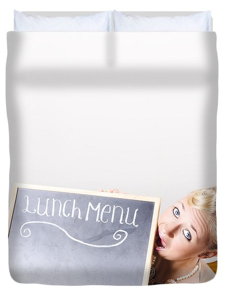 Lunch Time Menu Duvet Cover
