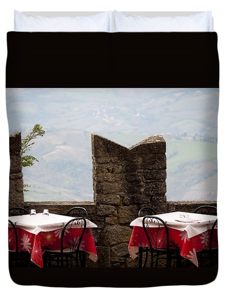 Lunch With A View Duvet Cover by Rae Tucker
