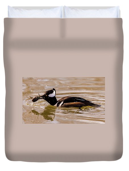 Duvet Cover featuring the photograph Lunchtime For The Hooded Merganser by Randy Scherkenbach