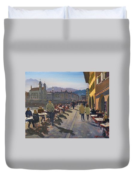Lunchtime In Luzern Duvet Cover