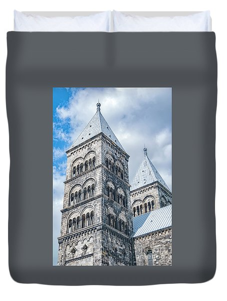 Duvet Cover featuring the photograph Lund Cathedral In Sweden by Antony McAulay