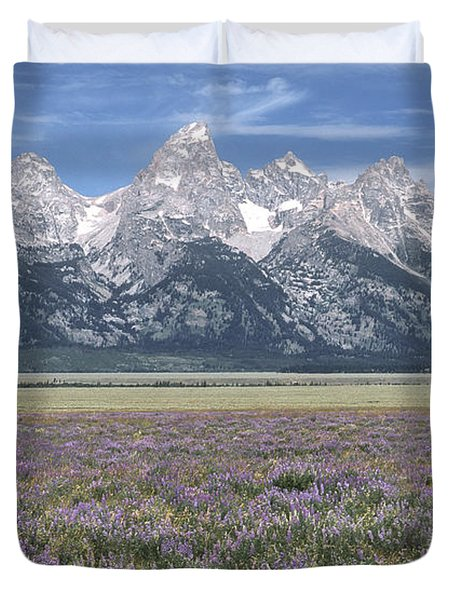 Lupine And Grand Tetons Duvet Cover