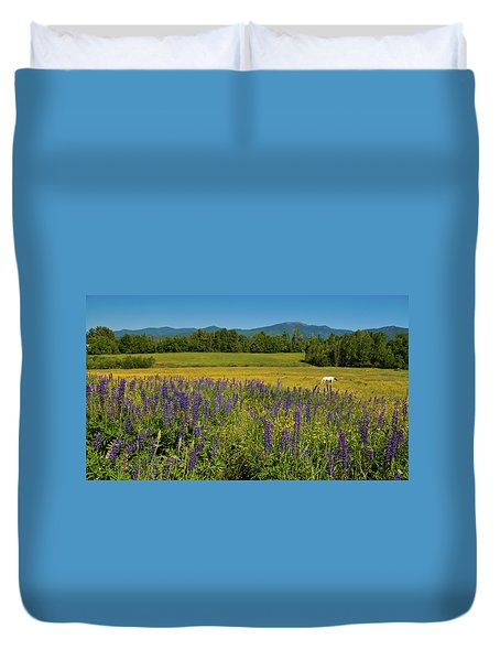 Duvet Cover featuring the photograph Lupine Festival by Brenda Jacobs