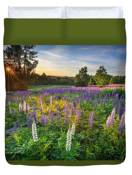 Lupine Field At Sunset Duvet Cover