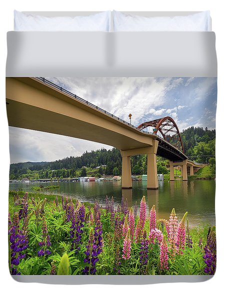 Lupine In Bloom By Sauvie Island Bridge Duvet Cover by David Gn