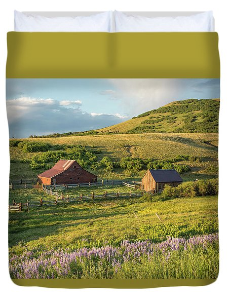 Lupine In The Field Duvet Cover