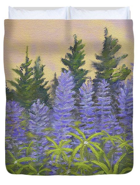 Lupine In The Morning Duvet Cover