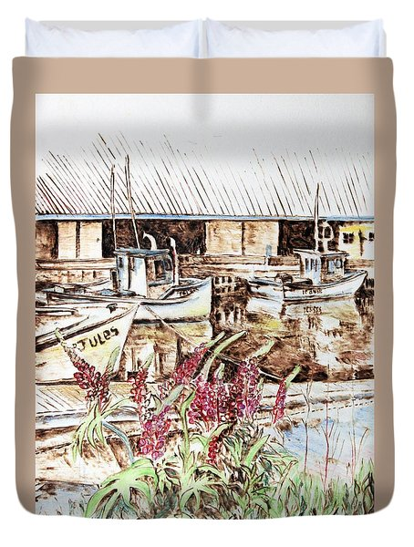 Lupines At Murray Harbour Duvet Cover
