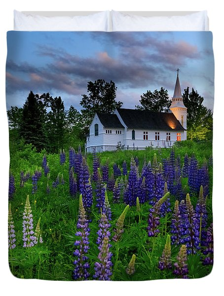 Lupines By The Church Duvet Cover