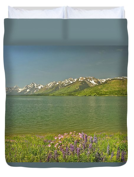 Lupines In The Tetons Duvet Cover