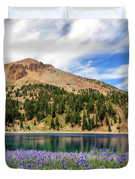 Lupines Lake And Lassen Duvet Cover