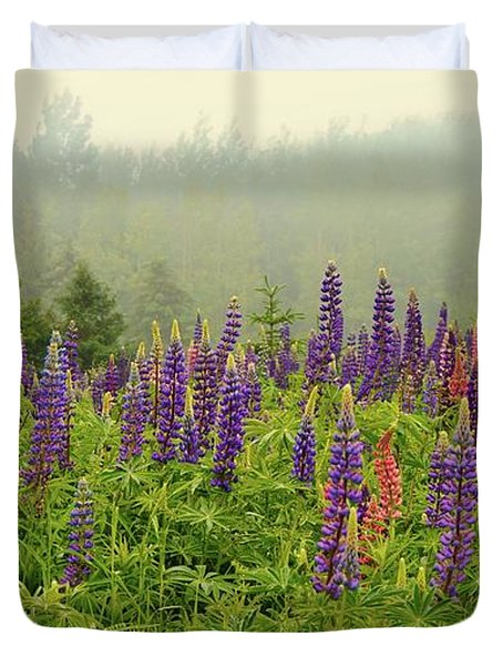 Lupins In The Mist Duvet Cover