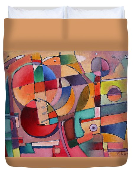 Duvet Cover featuring the painting Lure Eye Expression by Jason Williamson