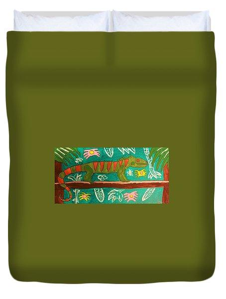 Lurking Iguana Duvet Cover by Brandon Drucker