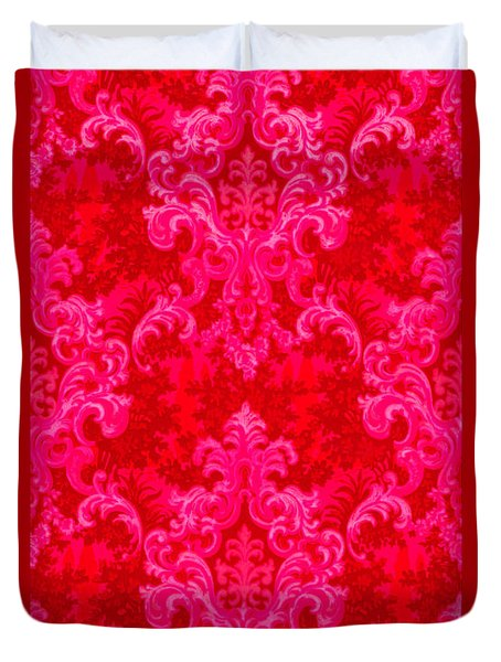 Luscious Neo Baroque Hot Pink Bubblegum Damask Duvet Cover