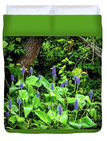 Lush Purple Flowers In The Woods Duvet Cover