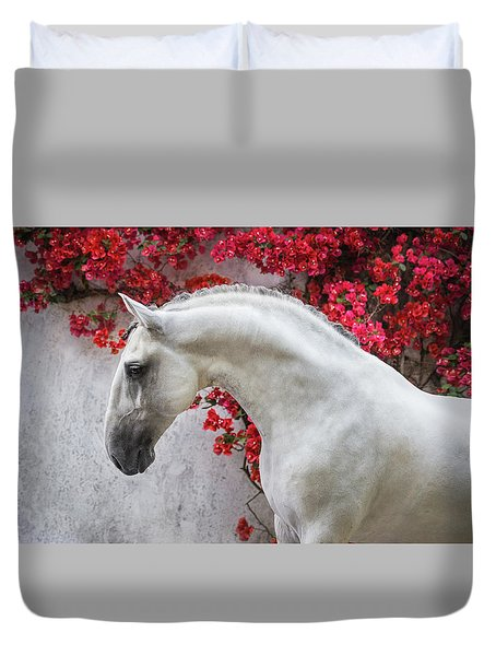 Lusitano Portrait In Red Flowers Duvet Cover by Ekaterina Druz