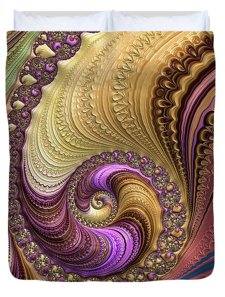 Luxe Colorful Fractal Spiral Duvet Cover