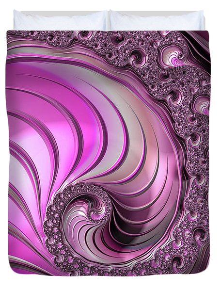 Duvet Cover featuring the digital art Luxe Pink Fractal Spiral by Matthias Hauser