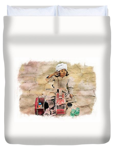 Luxor Shoeshine Girl Duvet Cover by Joseph Hendrix