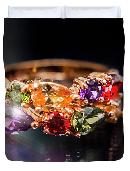 Luxury Gemstone Fine Jewelry Rings Duvet Cover