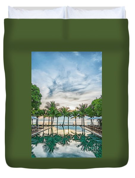 Duvet Cover featuring the photograph Luxury Pool In Paradise by Antony McAulay