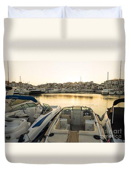 Luxury Yachts Puerto Banus Duvet Cover by Perry Van Munster