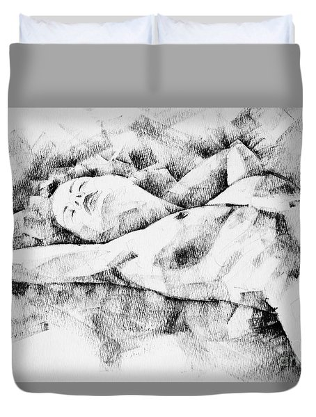 Lying Woman Figure Drawing Duvet Cover