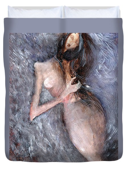 Duvet Cover featuring the painting Lilac Song by Maya Manolova