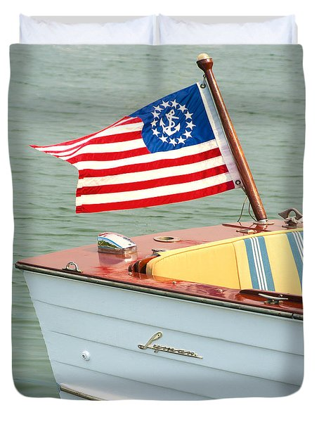 Vintage Mahogany Lyman Runabout Boat With Navy Flag Duvet Cover