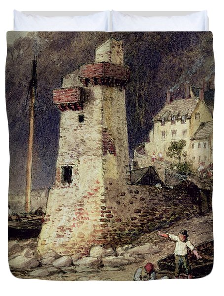 Lynmouth In Devonshire Duvet Cover by Myles Birket Foster