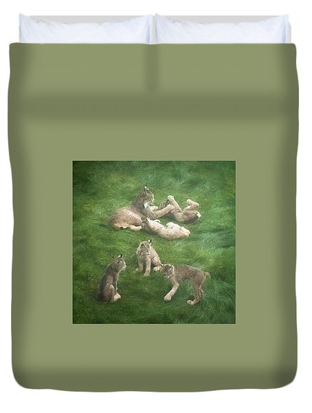 Lynx In The Mist Duvet Cover