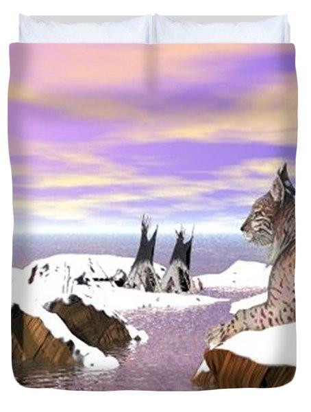 Lynx Watcher Render Duvet Cover