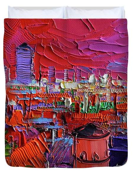Lyon View In Pink Duvet Cover