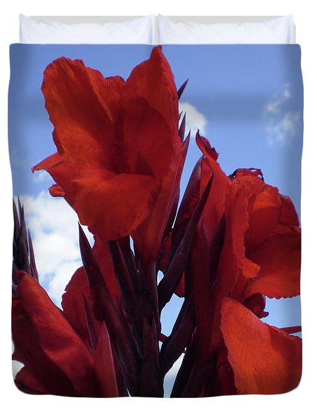 M Shades Of Red Flowers Collection No. R16 Duvet Cover