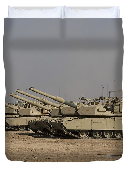 M1 Abrams Tanks At Camp Warhorse Duvet Cover by Terry Moore