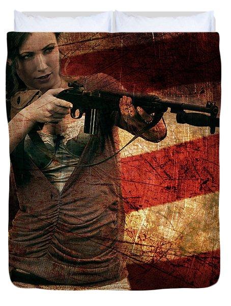 M1 Carbine On American Flag Duvet Cover